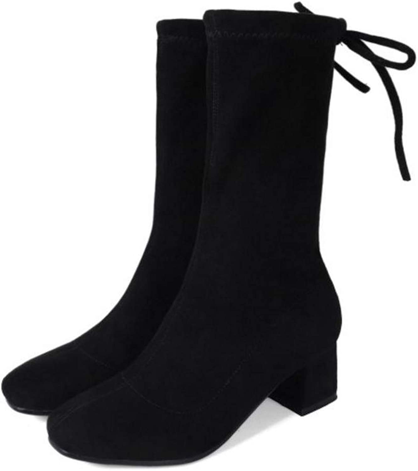 FAY WATERS Womens Fashion Warm Short Boots Thick Heel Lace Up Round Toe Winter Mid Calf Booties