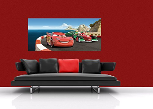 AG Design FTDh 0640 Cars Disney Bergrennen, Papier Fototapete Kinderzimmer - 202x90 cm - 1 Teil, Papier, multicolor, 0,1 x 202 x 90 cm