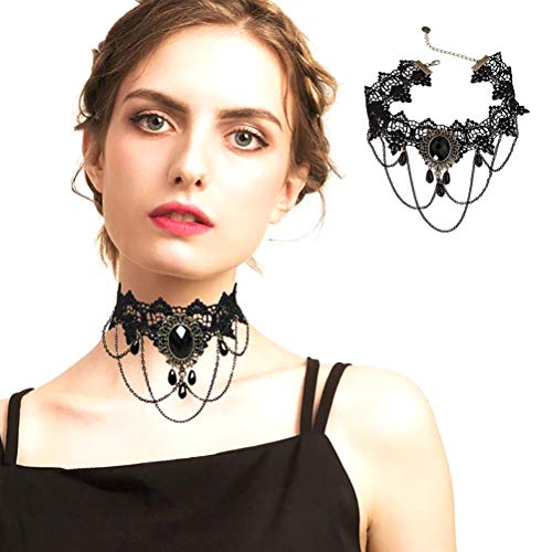 Halloween Decorations Party Accessory Vintage Rose Queen hair band Gothic crown queen headdress accessories,Skull Choker Necklace (Black Lace neck chain)