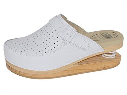 LUVER gefederte Damen Clogs weiß - Federschuhe - clgjr120w, Weiß, Größe: 39