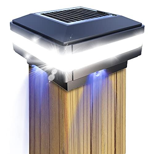 Lámpara solar para postes de GEYUEYA Home, lámpara exterior, poste valla, paisaje, IP65 resistente al agua madera, plataforma, patio, iluminación valla