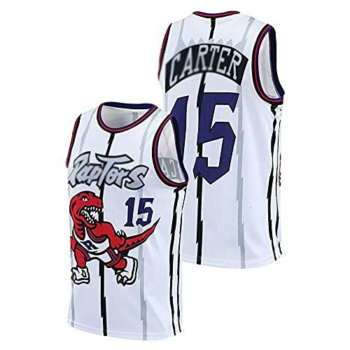 JFIOSD 2021 Hombre NBA Basketball Jersey,Raptors n#15 Carter Ropa de Baloncesto,Camisetas Al Aire Libre Casual Mujer Redondo CháNdales,Blanco,S
