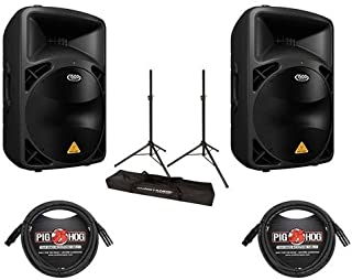 Behringer 2-Pack EUROLIVE B615D Active 1500 Watts 2-Way PA Speaker System with 15in Woofer - Bundle with 2 Pack 15' 8mm XLR Mic Cable, Ultimate JamStands JS-TS50 Tripod-Style Speaker Stand Pair