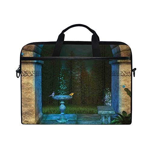 VICAFUCI New 15-15.4 Zoll Laptop Tasche,Umhängetasche,Handtasche,Gotische Waldlandschaft von den Alten Torbogen-Vögeln auf Brunnen-Märchen