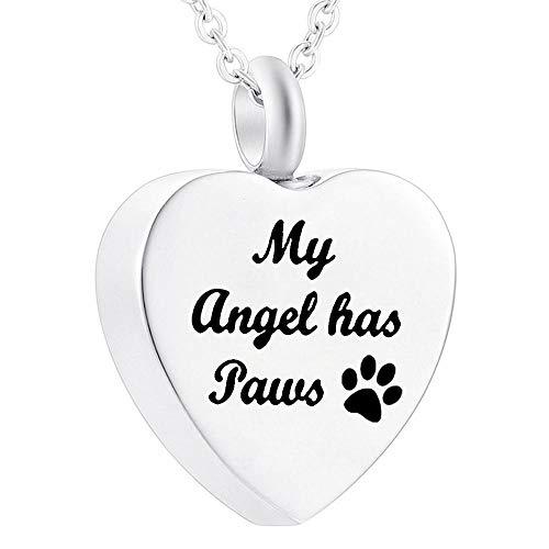 UGBJ Cremación Colgante Collares de urna para el Titular de la Ceniza de Mascotas Recuerdos sin recarcar Collar de joyería Memorial Perro Gato corazón Colgante Funner Kit de Relleno