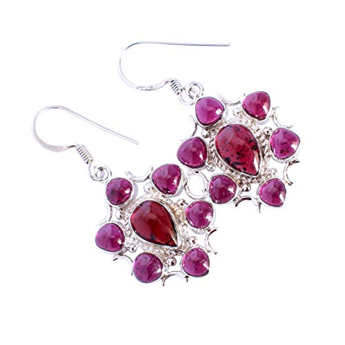 Garnet Gemstone 925 Solid Sterling Silver Dangle Earrings Authentic Designer Jewelry,Anniversary Gift FSJ-5290