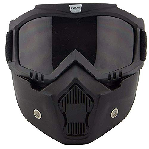Outlaw 50 'Nemesis' Vintage Face Mask with Detachable Motorcycle Goggles and UV 400 Lens - One Size