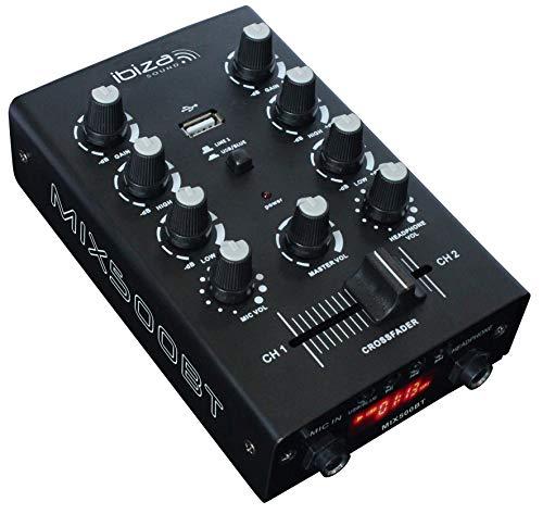 Ibiza MIX500BT 2-Kanal DJ Mischpult mit Bluetooth-Schnittstelle, USB-Port und einem integrierten Medien-Player