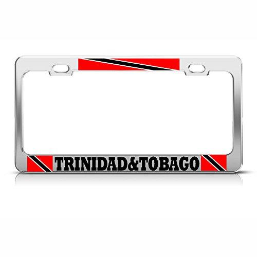 Marco de matrícula Cromado con la Bandera de Trinidad Tobago para Coche, Ideal para Hombres y Mujeres