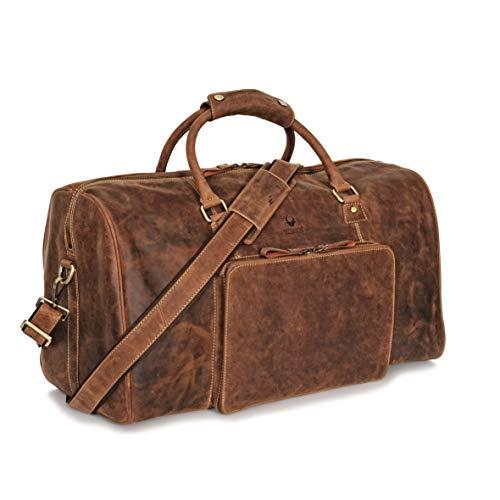 DONBOLSO Donbolso Weekender Neapel Braun - XL Reisetasche aus Leder für Damen und Herren - Echtleder Handgepäck mit Schultergurt - 51 Liter