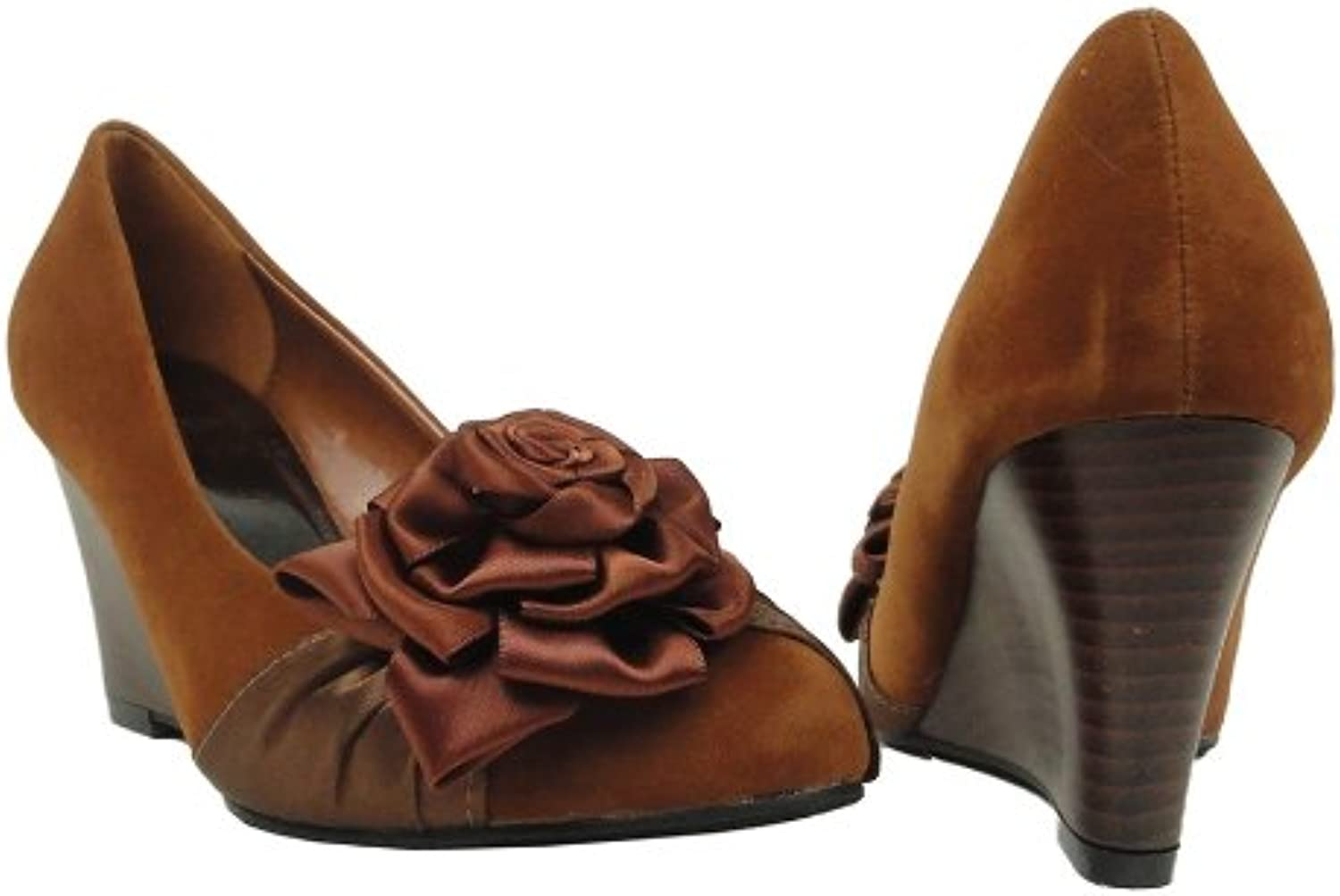 DS By KSC Womens Faux Suede Slip On Wedges Pumps w Flower pinkttes Coffee Brown
