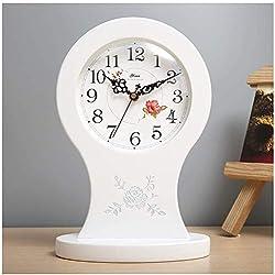 Desk Shelf Clocks Creative Decoration Ornaments Table Mute Unique Retro Style Quiet Environment Inches Desktop Motion Ensures Tick American (Color : White)