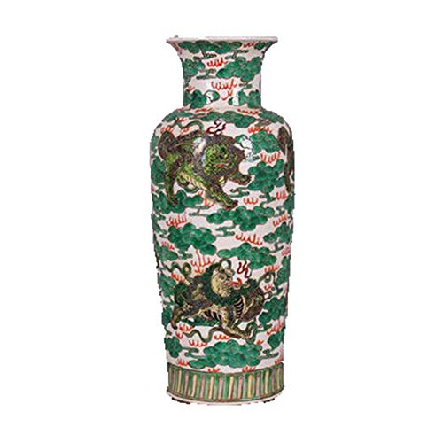 Fashion158 Daqing Kangxi Bunte Löwen Ball gerade Mund Vase Jingdezhen Porzellan Antique Collection
