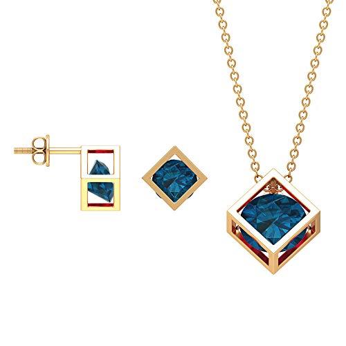 Juego de joyas de topacio azul Londres de 3 quilates, juego de colgante de oro con pendientes, collar y pendientes solitario azul
