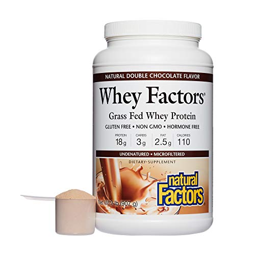 Whey Factors by Natural Factors, Grass Fed Whey Protein Concentrate, Aids Muscle Development and Immune Health, Gluten Free, Double Chocolate, 2 lbs (34 servings)