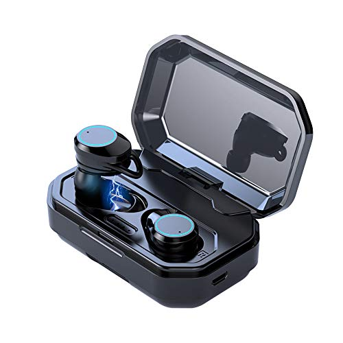 TiKa Wireless Earbuds, Bluetooth 5.0 Waterproof 3D Stereo Sound True Wireless Earphones with Charging Case Built-in Mic Deep HiFi Bass Sound Quality (Black)