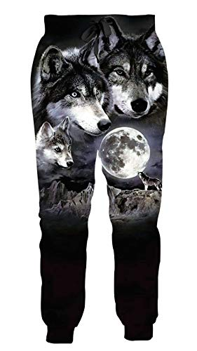 Goodstoworld Animal Sweatpants Women Men Crazy Joggers 3D Wolf Print Novelty Pants Crazy Sport Boys Girls Black Sweats Pant with Pockets