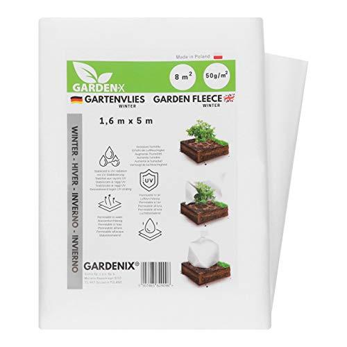 GARDENIX® 8 m² Vellón de protección contra Congelación para Invierno, Alta estabilización UV, Permeable al Agua, Cubierta de Invierno para Plantas (1,6m x 5m)