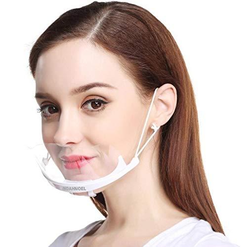 NoahNoel® 10 x Gesichtsvisier aus Kunstoff in transparent | Mund Nasen Bedeckung für Gastronomie