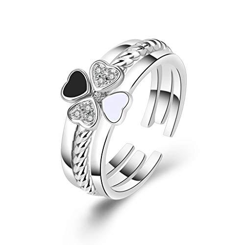 QIANGU Anillo, Mujeres Love Heart Trébol de la Suerte de Cuatro Hojas con Diamantes de imitación Anillo 3 en 1 Lucky Jewelry-C