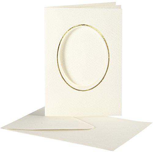 Creativ Company Passepartout, Kartengröße 10,5 x 15 cm, elfenbeinfarben, oval mit Goldrand, 10 Set