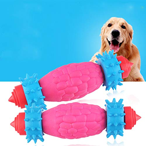 DUANQY Dog Toys,Puppy Cat Bite Best Pet Dogs Supplies Bite Resistant Soft Rubber Treat Dog Toys Tooth Cleaning Dog Chew Toy,Pink