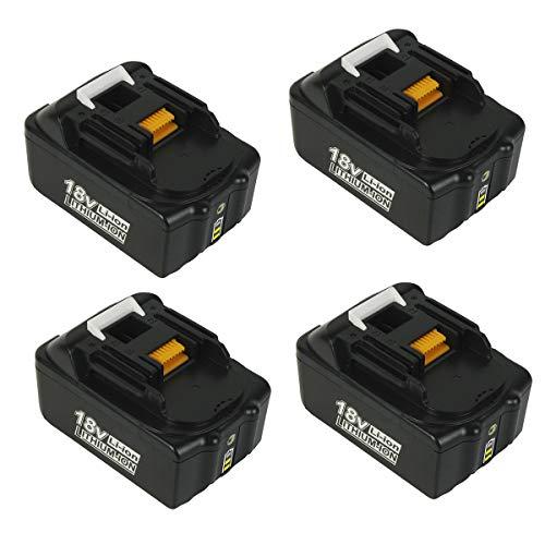 MANUFER BL1860 18V 6,0Ah Li-ion Ersatzakkus für Makita BL1850 BL1850B BL1860B BL1860 BL1830 BL1840 BL1845 BL1815 BL1820 BL1835 LXT-400 für Makita 18V Akku mit Indikator 4 Stück