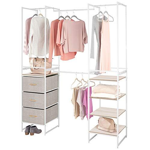 mDesign Modular Closet Organizer System, Storage Unit, Sturdy Steel Frame, 3 Fabric Drawer Bins, 4 Garment Racks, 5 Shelves for Bedroom, Hallway, Entryway, Closet, Textured Print - Linen/Natural
