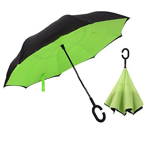 Aogolouk doppio strato invertito ombrello con manico a forma di C, antivento Reverse ombrello pieghevole anti-UV, da viaggio, auto stand, Mani libere (Verde)