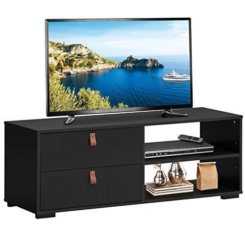 """Tangkula Industrial TV Stand for TVs up to 55"""" Flat Screen, Media Console Table with 2 Drawers, Multipurpose Entertainment Center with Adjustable Shelf for Living Room Bedroom (Black)"""