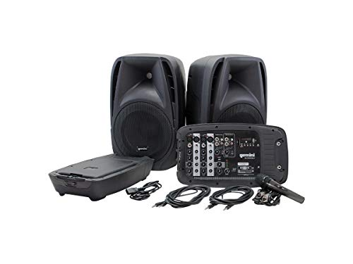 """Gemini Sound ES-210MXBLU Professional Audio Bluetooth PA System with Two 10"""" Woofer Speakers and Microphone Included, Detachable 8 Channel Mixer, 4 Line/Mic Inputs, SD, USB"""