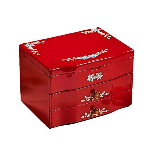 CHICAI Caja de joyería de madera, caja de almacenamiento pequeña de la baratija, decoración del hogar, adecuado para pendientes, collar, anillo y pulsera