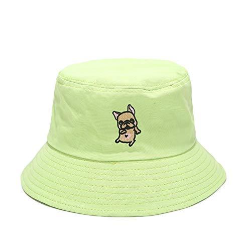 Buynow1 x Fischerhut, Cartoon-Motiv, bestickt, leicht, faltbar, verstellbar, UV-Schutz leuchtend grün