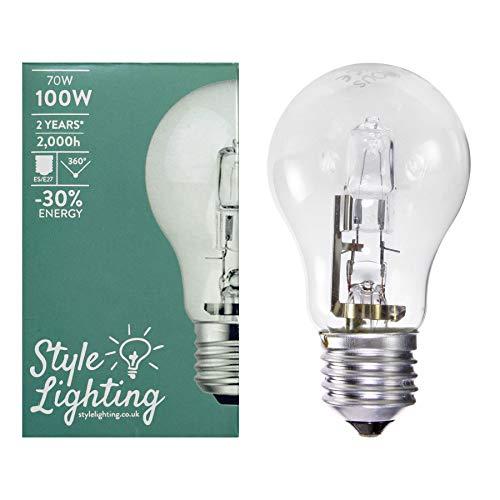 10 bombillas halógenas de 70 W = 100 W ES E27 GLS, bajo consumo, regulables