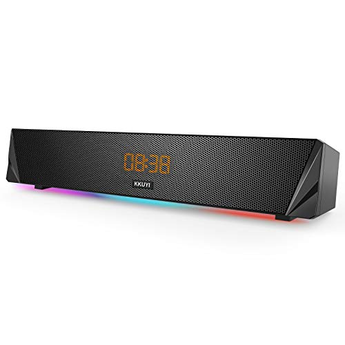 Soundbar, KKUYI Gaming Computer Lautsprecher mit Buntem RGB Licht, leistungsstarke 7W Treiber PC Soundbar, drahtlose Bluetooth 5.0 oder 3.5mm Aux In Verbindung, Stereo Audio Computer Soundbar