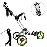 LPWCAWL Chariot De Golf Junior,Chariot De Golf À 3 Roues,Chariot De Golf Pliable avec Porte Bidon et Porte Parapluie et Frein À Pied,Voiturettes De Golf pour Hommes et Femmes