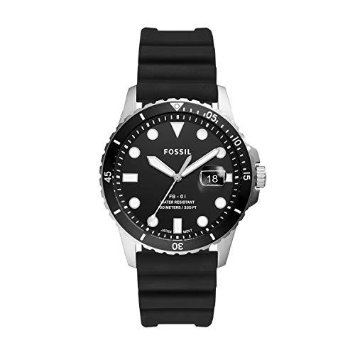 Fossil Herren Analog Quarz Uhr mit Silikon Armband FS5660