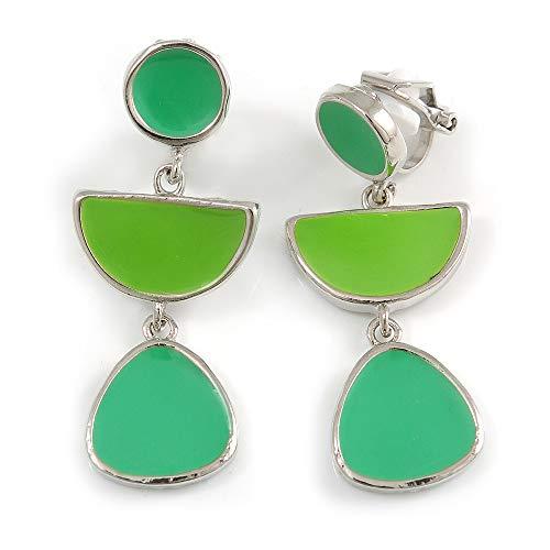 Grass Green/Lime Green Enamel Geometric Clip-On Earrings In Silver Tone - 40mm Long