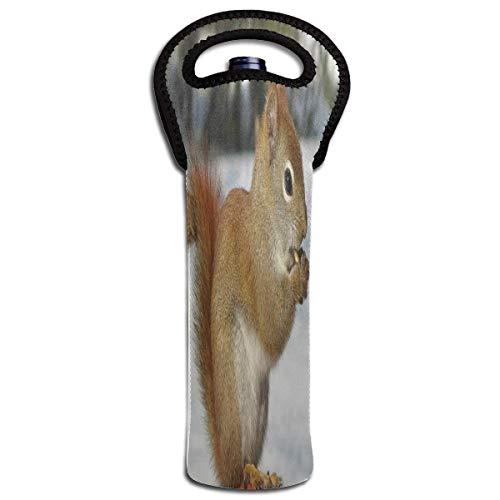 Rode wijn Sets eekhoorns slapen in de winter beschermende champagne Tote Bag fles houder tas geïsoleerd gewatteerd
