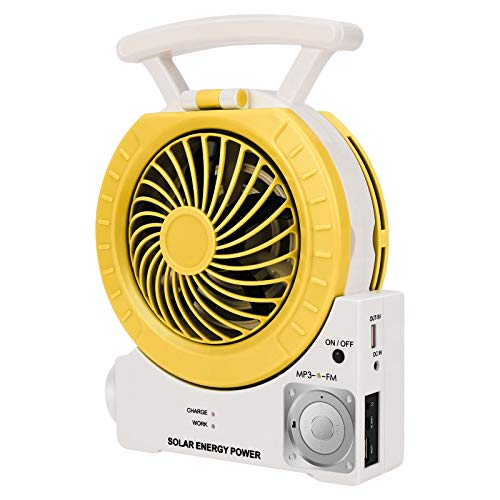 Multi-function Solar Fan Electric Outdoor Fishing Fan with Radio/MP3/Table Lamp/Torch/Cell Phone Charging Function for Camping Fishing and Hurricane Emergency (yellow)