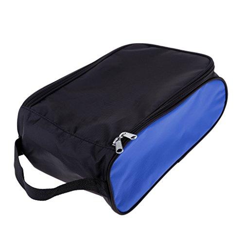 Hellery Bolsa para Zapatos de Golf, Bolsa para Zapatos con Cremallera, Bolsa Deportiva, Bolsa para Zapatos - Negro + Azul