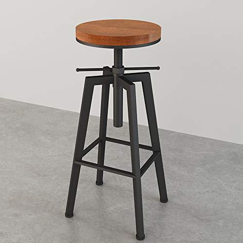 LKP Sgabello da Bar Regolabile Sgabelli Alti Industriale Girevole Seduta in Legno Sedia da Cucina/Colazione con Poggiapiedi (63-83cm)