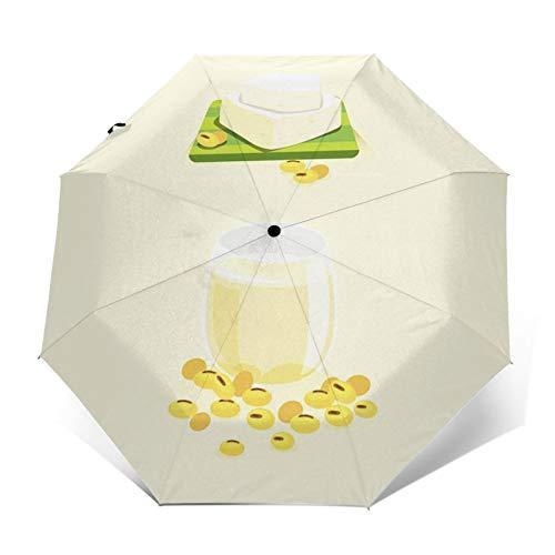 Parapluie Pliant, Parapluie Pliable Automatique Ouverture et Fermeture Résistant à Tempête Compact Léger Parapluie De Voyage pour Homme et Femme Boire du Lait de soja
