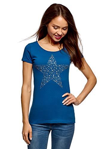 oodji Ultra Mujer Camiseta con Estampado Estrella de Pedrería, Azul, ES 36...
