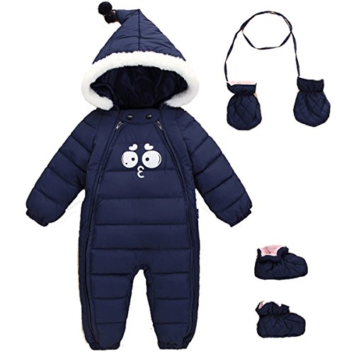 JELEUON Baby Girls Boys One Piece Two Zipper Cartoon Down Jacket Jumpsuit Romper with Gloves and Shoes 1-2 Years Navy