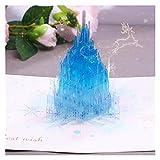 Tarjeta de Felicitación Tarjeta de la tarjeta del castillo de cristal azul 3D para la tarjeta de felicitación de la Navidad de la Navidad Tarjeta del día de la acción de gracias Cumpleaños de la boda