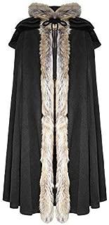 Punk Rave Mens Cloak Coat Jacket Black Hooded Fur Gothic Steampunk Cloak Mens Caps Stage Performance Cloak