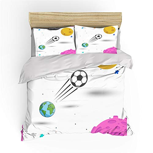 Duvet Cover Football 3D Creative Art Painting Wall Graffiti Earth City Landscape Sports Style Children Adolescent Boy Microfiber Bedding Set Quilt cover and Pillowcases (Football 1,Single)