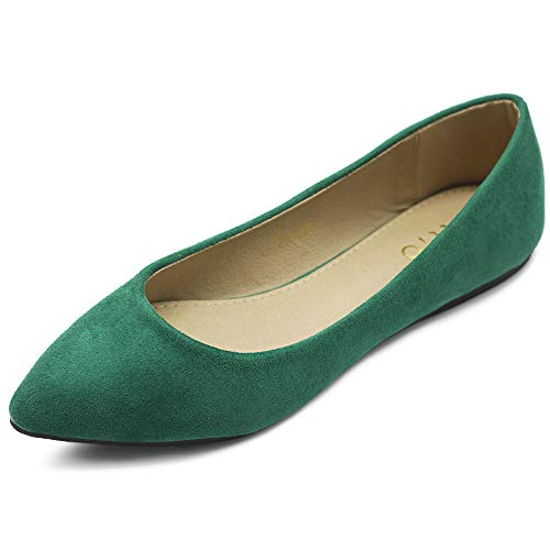 Ollio Damen-Ballettschuh, bequem, leicht, Wildlederimitat, mehrfarbig, flach, Grün (Grün ), 38 EU