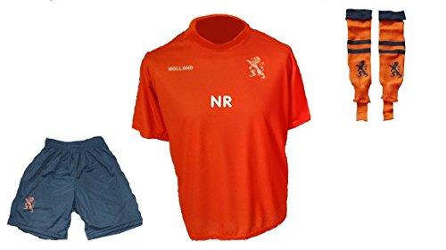 Spielfussballshop Holland/Niederlande Trikot + Hose + Stutzen mit Wunschname + Nummer Kinder Größen (98)
